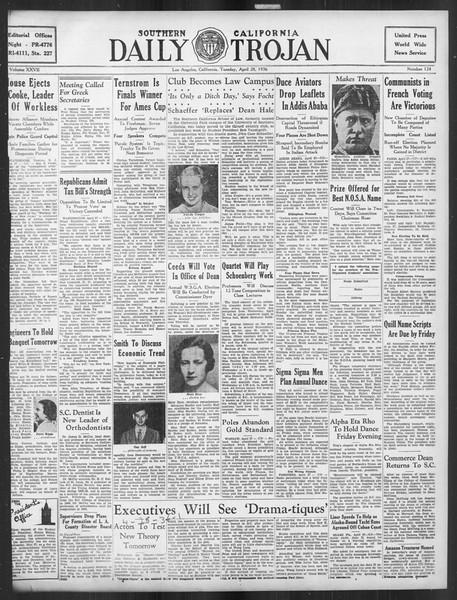 Daily Trojan, Vol. 27, No. 124, April 28, 1936