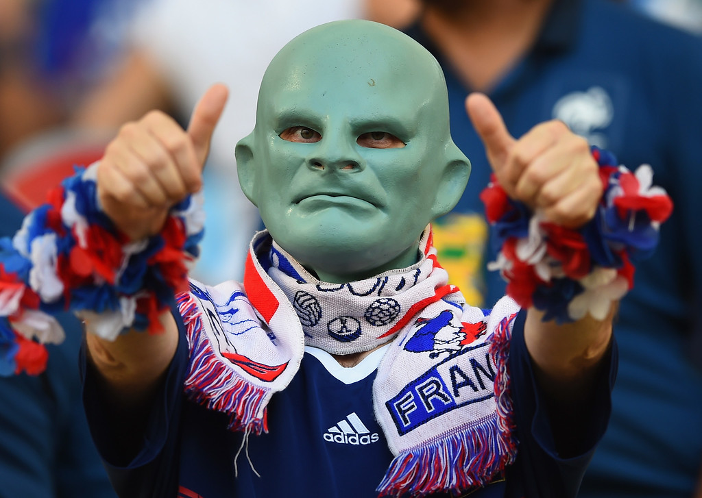 . A France fan enjoys the atmosphere prior to the 2014 FIFA World Cup Brazil Group E match between Ecuador and France at Maracana on June 25, 2014 in Rio de Janeiro, Brazil.  (Photo by Matthias Hangst/Getty Images)
