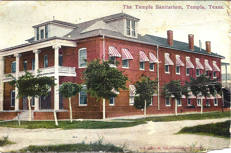 1912 Temple Sanitarium postcard front - To Cora Smith from Willie Smith.jpg