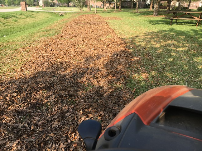 Mulch-mowing 33 Bags of Leaves