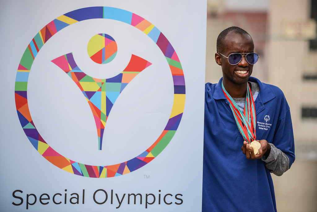 . Special olympian Jayson Warsuna shows off his medals at the announcement of the 2015 Special Olympics World Games to be held in Los Angeles.   Photo by David Crane/Staff Photographer