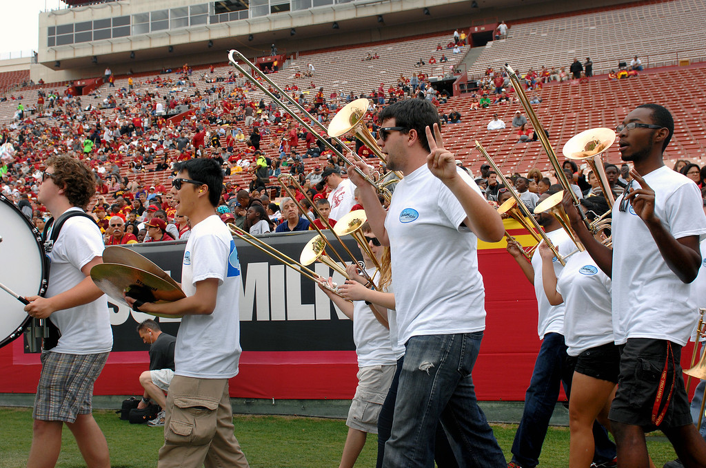 . The USC Marching Band comes onto the field for the Spring Football Game. (Michael Owen Baker/Staff Photographer)