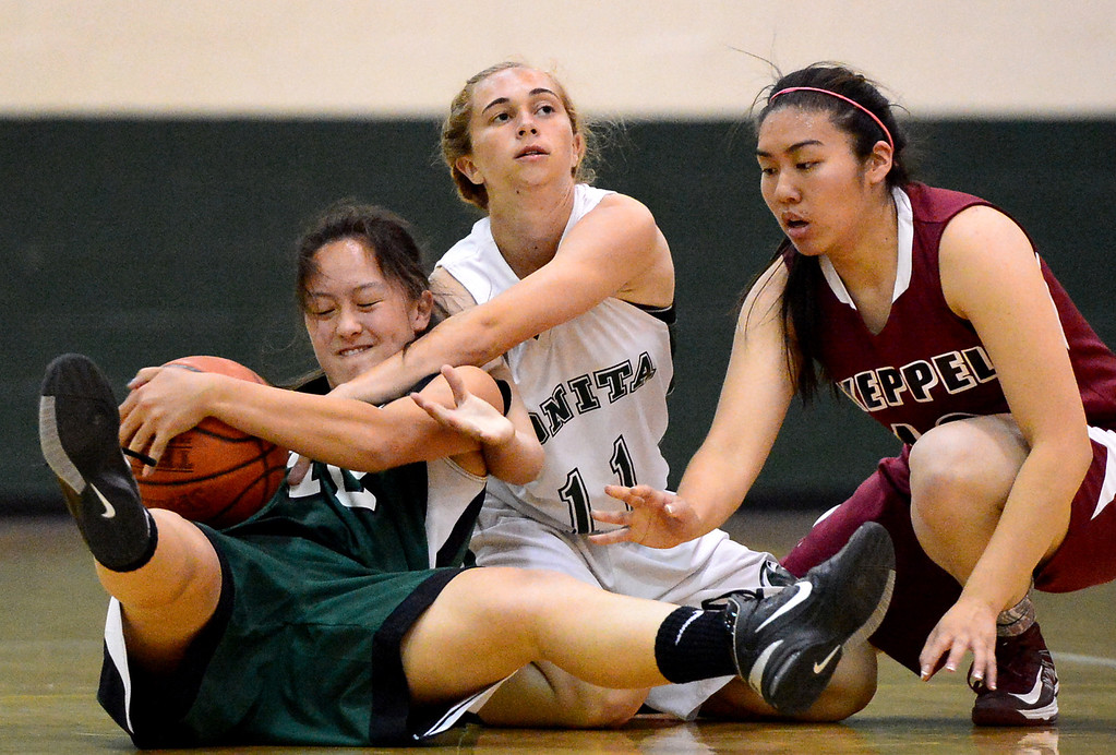 . Westridge\'s Lili Kim and Bonita\'s Stephanie Vana struggle over the ball as Keppel\'s Alyson Lock approaches during the 10th annual Tribune/Star-News boys/girls basketball all-star classic Friday night, April 26, 2013 at Damien High School in La Verne. (SGVN/Staff Photo by Sarah Reingewirtz)