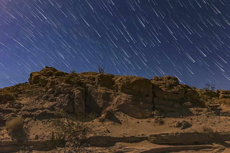 Star Trails In The Anza-Borrego Desert Under An 85% Moon