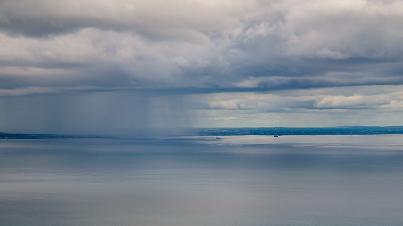 Shower over Galway Bay, from Gleninagh Pass