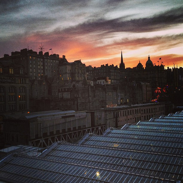 Old meets new, late afternoon industrial #Edinburgh #sunset #blogmanay