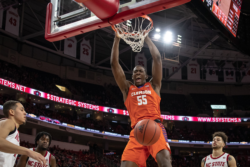 NCAA Basketball 2020:  Clemson Tigers vs. NC State Wolfpack.  January 18, 2020.
