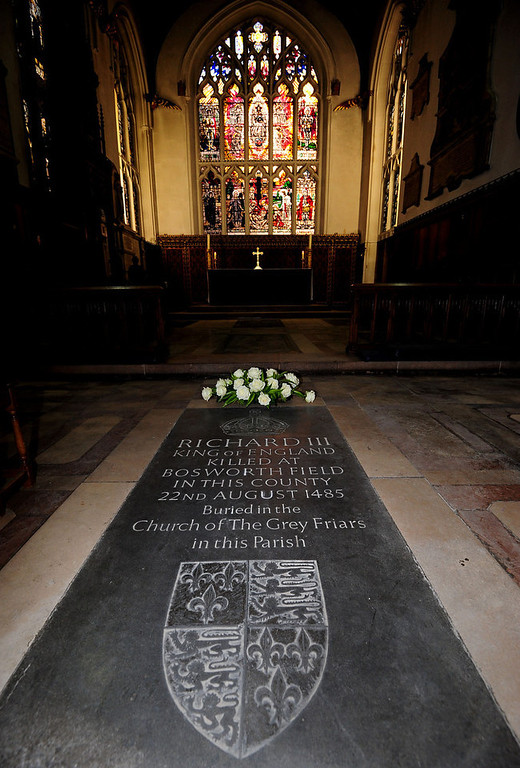 ". A general view of a memorial stone to King Richard III, inside Leicester Cathedral, England, Monday Feb. 4, 2013. Leicester University declared Monday that the remains  found underneath a car park last September at the Grey Friars excavation in Leicester, were ""beyond reasonable doubt\"" to be the long lost remains of England\'s King Richard III, missing for 500 years.  Richard was immortalized in a play by  Shakespeare as a hunchbacked usurper who left a trail of bodies including those of his two young nephews, murdered in the Tower of London on his way to the throne.(AP Photo/PA, Rui Vieira)"