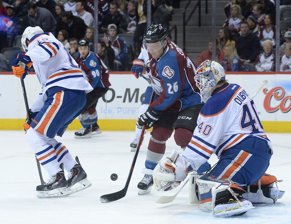 . DENVER, CO. - DECEMBER 19: Colorado center Paul Stastny (26) tried to redirect a shot past Edmonton goalie Davan Dubnyk (40) in the first period. The Colorado Avalanche hosted the Edmonton Oilers in an NHL game at the Pepsi Center Thursday night, December 19, 2013.  Photo By Karl Gehring/The Denver Post