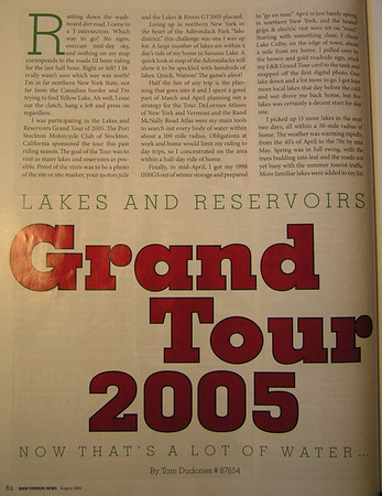 BMW Owners News: Lakes & Reservoirs Grand Tour Article, August 2006