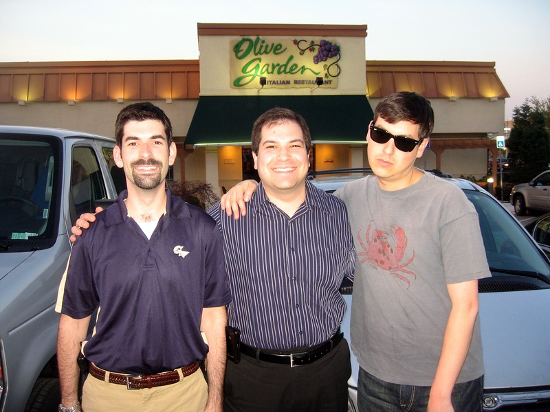 David (l), Craig, and Raf arrive at Olive Garden.  Raf is not looking forward to this.