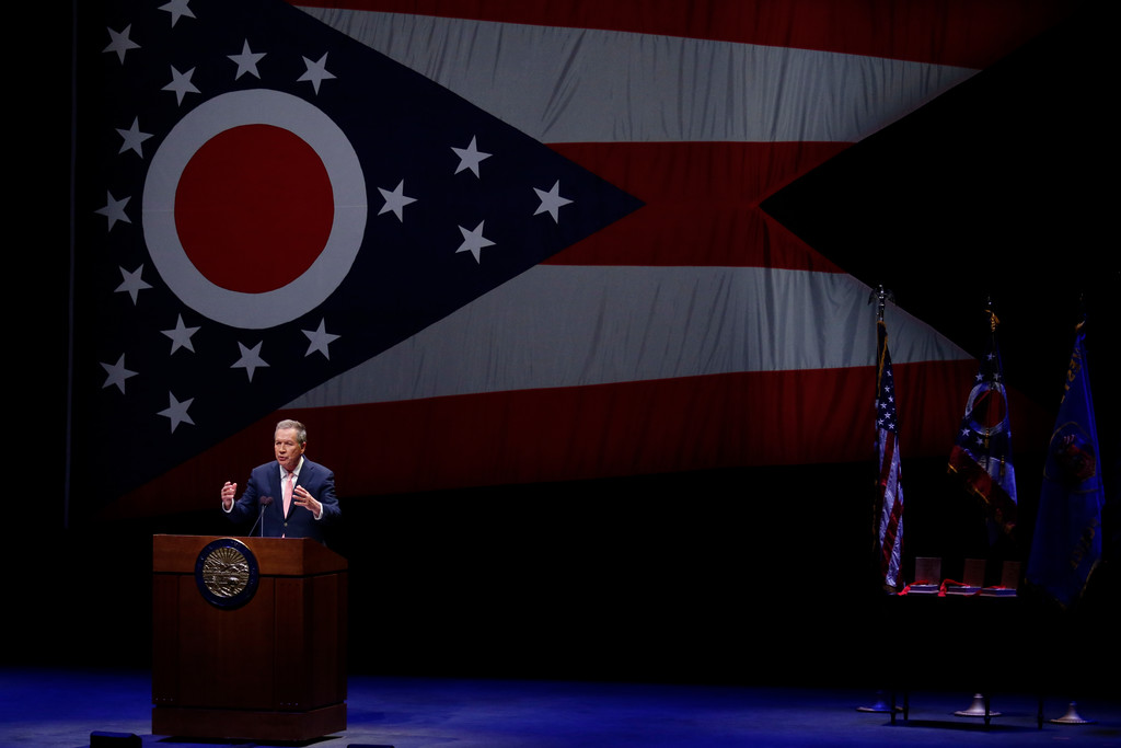. Ohio Governor John Kasich speaks during the Ohio State of the State address in the Fritsche Theater at Otterbein University in Westerville, Ohio, Tuesday, March 6, 2018. (AP Photo/Paul Vernon)