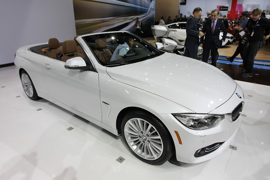 . A 2014 BMW 428i convertible is shown during media preview days at the 2013 Los Angeles Auto Show on November 20, 2013 in Los Angeles, California. The LA Auto Show was founded in 1907 and is one of the largest with more than 20 world debuts expected. The show will be open to the public November 22 through December 1.  (Photo by David McNew/Getty Images)