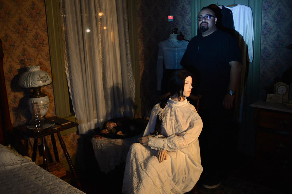 . Mato Wahya, co-founder of the Enlightened Paranormal Investigators of California, hunts for ghosts at the Santa Clarita Historical Heritage Junction in Newhall Friday, October 25, 2013. (Photo by Hans Gutknecht/Los Angeles Daily News)