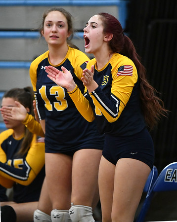 11/16/2019 Mike Orazzi | StaffrWoodstock Academy's Aurissa Boardman (13) and Sierra Bedard (1) during the 2019 State Girls Volleyball Tournament Class L Quarterfinals at BEHS in Bristol Saturday. r