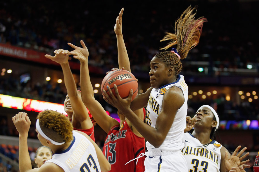 Description of . Gennifer Brandon #25 of the California Golden Bears grabs a rebound over Cortnee Walton #13 of the Louisville Cardinals during the National Semifinal game of the 2013 NCAA Division I Women\'s Basketball Championship at the New Orleans Arena on April 7, 2013 in New Orleans, Louisiana.  (Photo by Chris Graythen/Getty Images)