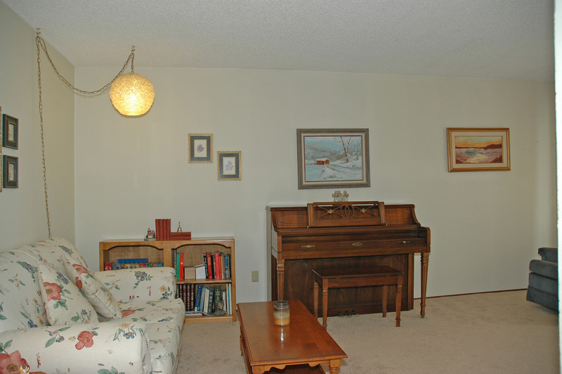A view of the living room from the hallway.