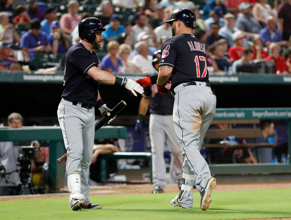 . Cleveland Indians\' Yonder Alonso (17) celebrates his home run with Jason Kipnis, left, during the seventh inning of a baseball game against the Texas Rangers, Saturday, July 21, 2018, in Arlington, Texas. (AP Photo/Jim Cowsert)
