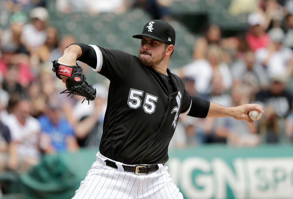 . Chicago White Sox starting pitcher Carlos Rodon delivers during the second inning of a baseball game against the Cleveland Indians Thursday, June 14, 2018, in Chicago. (AP Photo/Charles Rex Arbogast)
