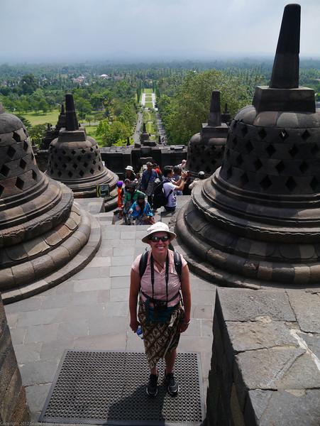 Susan at Borobudur