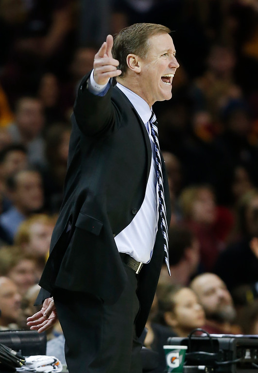 . Portland Trail Blazers head coach Terry Stotts directs hit team against the Cleveland Cavaliers during the second half of an NBA basketball game Wednesday, Nov. 23, 2016, in Cleveland. The Cavaliers won 137-125. (AP Photo/Ron Schwane)