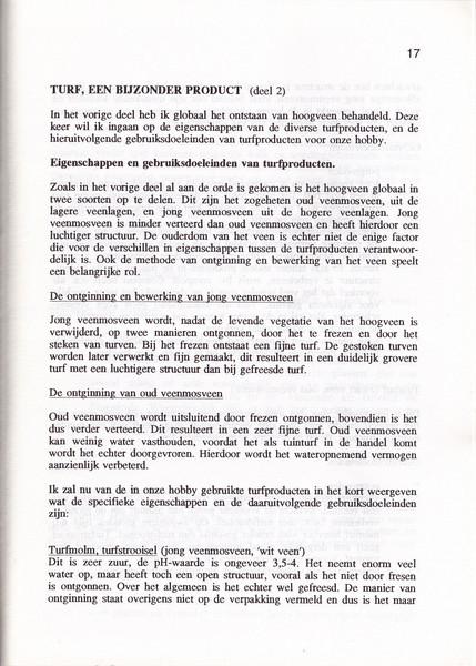 Turf, een bijzonder produkt, NRW Nieuwsbrief 43, 44 and 45, Kees Jan van Zwienen, May, August and November 1996
