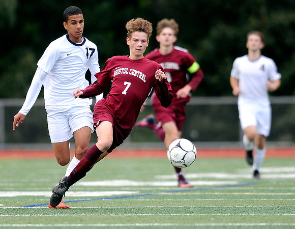 10/17/2018 Mike Orazzi | Staff Bristol Central's Adam Jones (7) and Newington's Youseff Khadrani (17) during boys soccer at BC Wednesday afternoon.