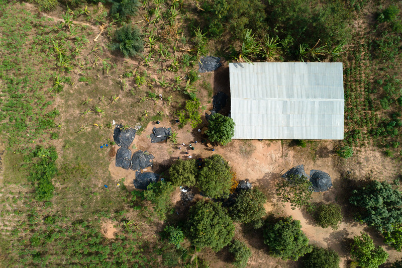 This compost facility functions under University of Ghana's UOWIAP Project. To speed up the process of compost production, workers keep piles of organic inputs under black tarps to trap heat.