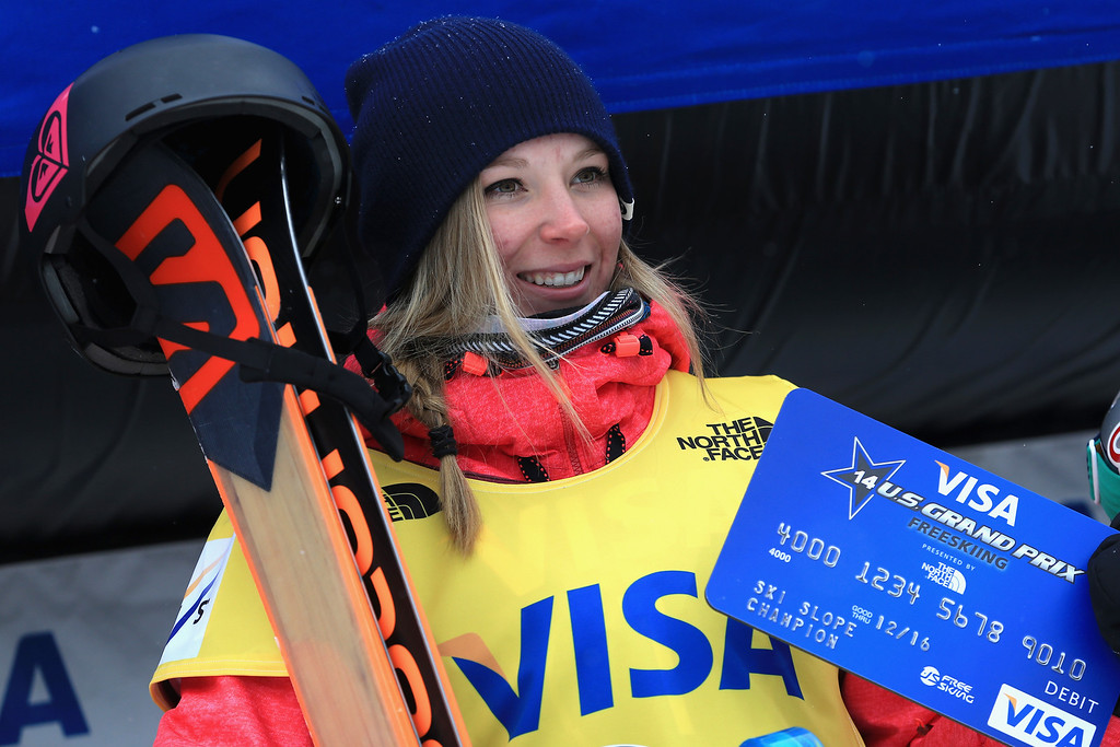 . Dara Howell of Canada takes the podium after winning the women\'s FIS Slopestyle Ski World Cup at the U.S. Snowboarding and Freeskiing Grand Prix on December 21, 2013 in Copper Mountain, Colorado.  (Photo by Doug Pensinger/Getty Images)