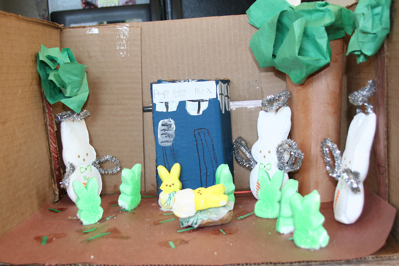 """. \""""Dr. Peep\"""" and the Weeping Angels with Dr. Who peep and Amy peep. (Erica Burge, Age 8)"""