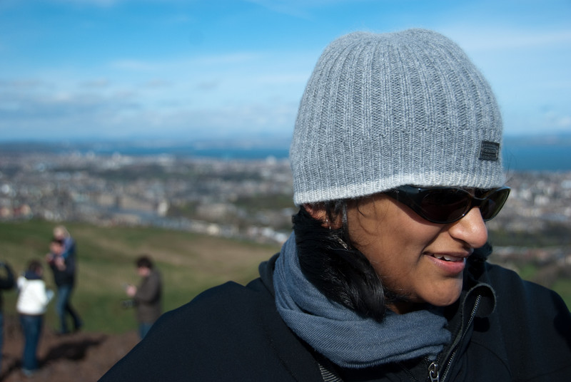 Bhumisha trying to stay warm in the gale force winds