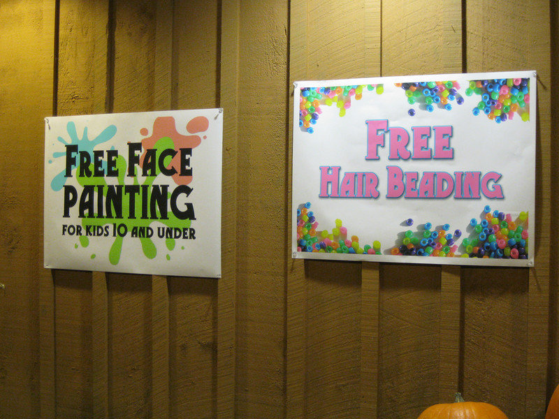There was free face painting and free hair beading at the Pumpkin Palace.