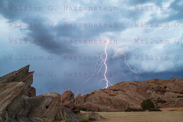 Lightning over Vasquez Rocks, CA.