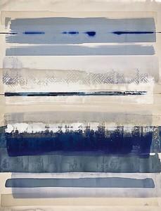 "Desert Raga 4-Leila, 50""x38"" acrylic painting with metal leaf"