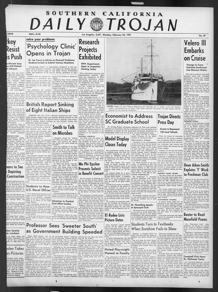 Daily Trojan, Vol. 32, No. 87, February 24, 1941
