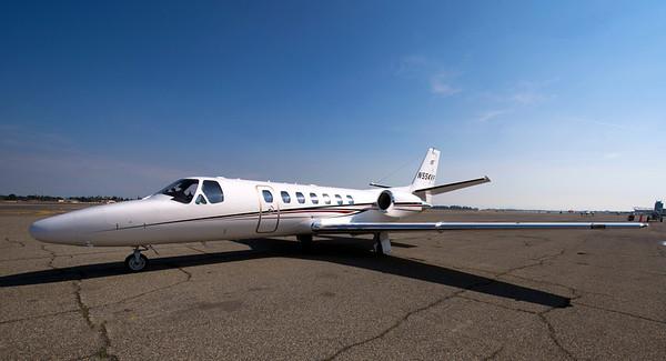 A Cessna 560 private jet.