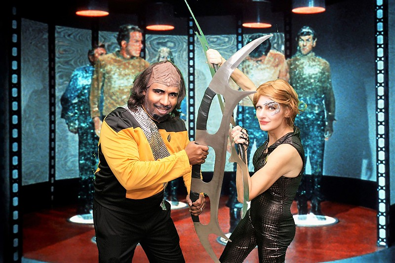 Worf and Seven of Nine  in the Transporter Room