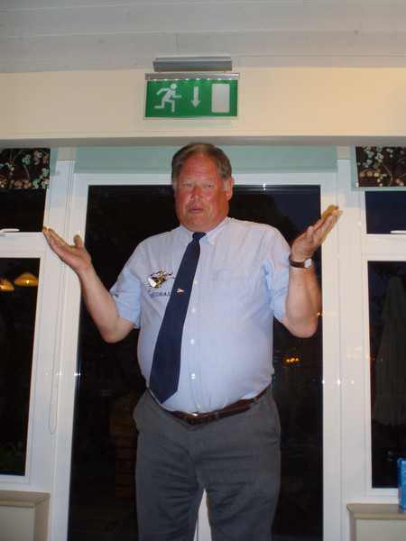 """Brian Dandridge, Cruise Organiser, at The first """"End of Cruise Dinner"""" at St Peterport"""