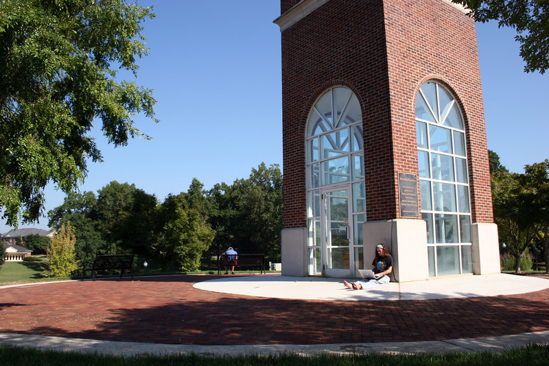 Gardner-Webb students study under the Hollifield Carillon (bell tower) on a beautiful September morning on the campus of Gardner-Webb University.
