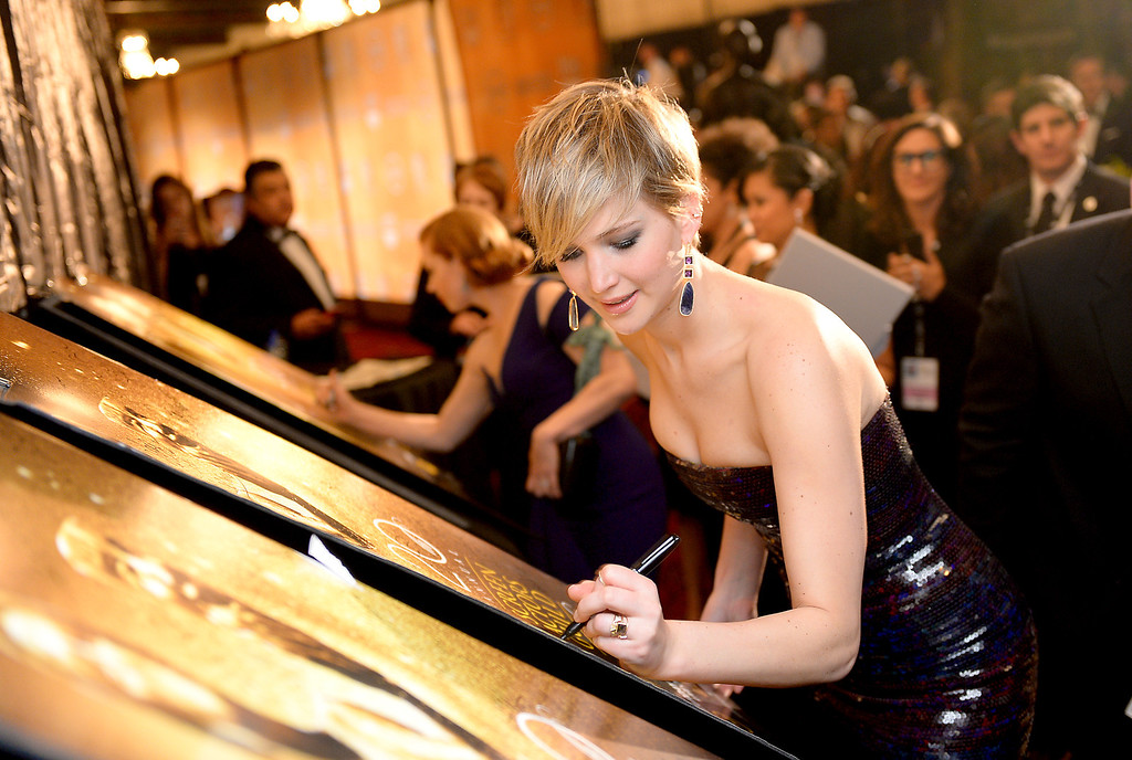. Jennifer Lawrence backstage at the 20th Annual Screen Actors Guild Awards  at the Shrine Auditorium in Los Angeles, California on Saturday January 18, 2014 (Photo by Michael Owen Baker / Los Angeles Daily News)