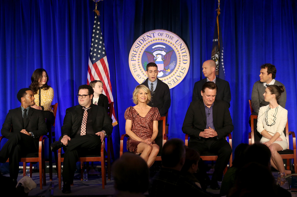 "Description of . Actors Amara Miller, Benjamin Stockham, Jason Winer, Executive Producers Mike Royce, Jon Lovett, (Bottom L-R) Andre Holland, Josh Gad, Jenna Elfman, Bill Pullman, and Martha MacIsaac speak onstage at the ""1600 Penn\"" panel session during the NBCUniversal portion of the 2013 Winter TCA Tour- Day 3 at the Langham Hotel on January 6, 2013 in Pasadena, California.  (Photo by Frederick M. Brown/Getty Images)"
