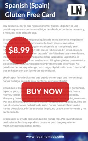spanish gluten free card