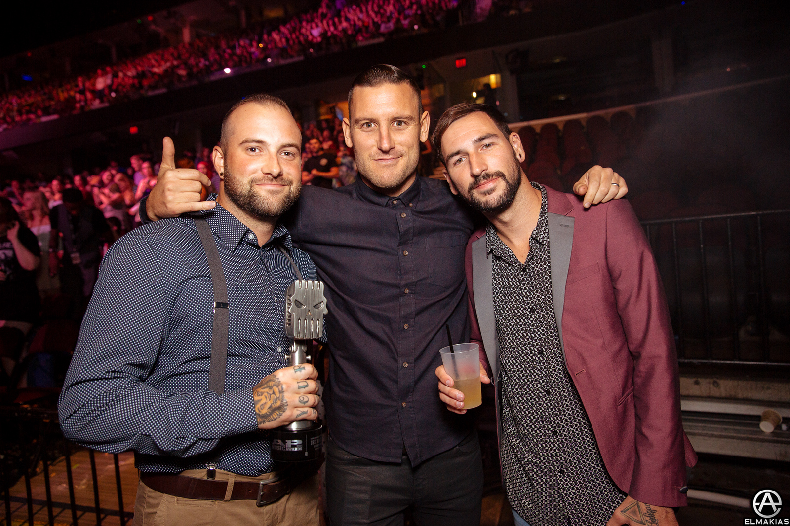 Winston McCall of Parkway Drive, Jake Luhrs of August Burns Red, and Michael Bohn of Issues at the APMAs 2015 by Adam Elmakias
