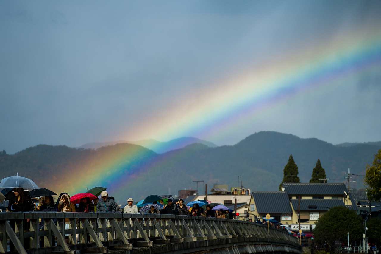 Rainbow over Arashiyama, Kyoto copyright Jeffrey Friedl