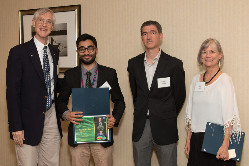 """Awardee Jalal-ud-din Butt with John Mather, Matthew Collinge (Maryland Space Grant Consortium), and Janie Nall (GSFC) -- An award luncheon, """"Dr. John Mather Nobel Scholars Program Award"""", as part of the National Council of Space Grant Directors and the Maryland Space Grant Consortium, Greenbelt, MD July 28, 2017"""