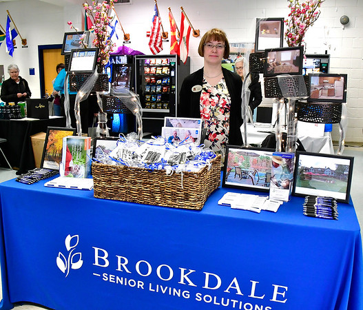 4/6/2019 Mike Orazzi | Staff Brookdale Senior Living Solutions' Jennifer Tillinghast during the 5th Annual Connecticut Prime Time Senior Fair Saturday at Bristol Eastern High School.