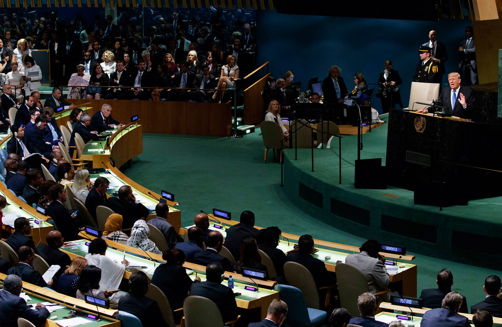 . President Donald Trump speaks to the United Nations General Assembly, Tuesday, Sept. 19, 2017, in New York. (AP Photo/Evan Vucci)