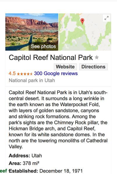 Fri., May 8, 2017 ~~ Capitol Reef, Utah, Fri., May 5, 2017