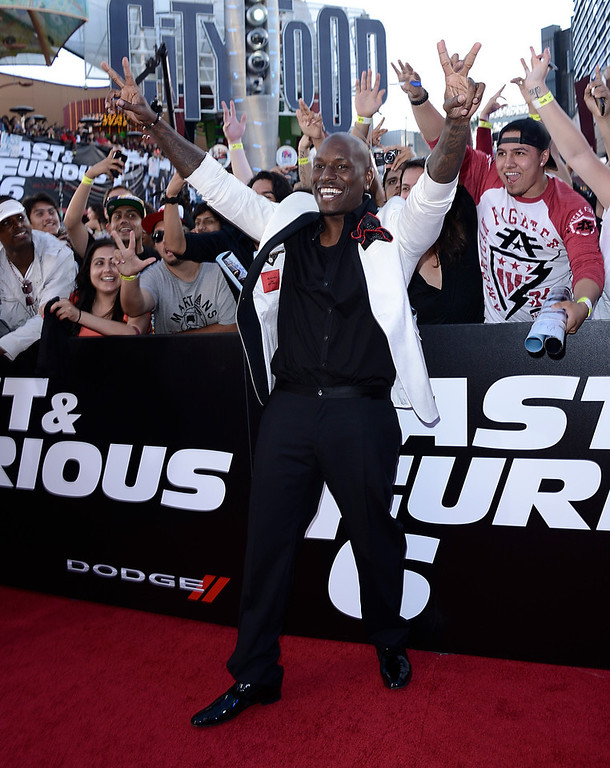 ". Actor and singer Tyrese Gibson arrives at the LA Premiere of the ""Fast & Furious 6\"" at the Gibson Amphitheatre on Tuesday, May 21, 2013 in Universal City, Calif. (Photo by Dan Steinberg/Invision/AP)"