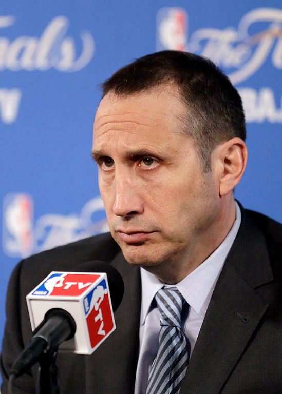 . Cleveland Cavaliers head coach David Blatt answers questions after Game 1 of basketball\'s NBA Finals against the Golden State Warriors in Oakland, Calif., Thursday, June 4, 2015. The Warriors won 108-100. (AP Photo/Ben Margot)